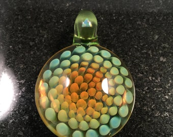 Fume Glass Implosion Pendant with White Triangle cut Opal on bail---Majestic Glass Arts---