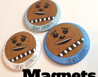 Star Wars Chewbacca three MAGNET set - chewy - gift set - present - nerdy