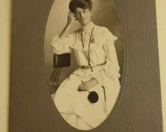 Antique Large Cabinet Card  with Young Woman in Lace CC2023