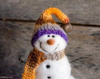 Needle Felt Snowman - Needle Felted Snowman - Christmas Snowman - Christmas Decoration - Christmas Decor -  Wool Snowman - Winter Décor -838