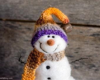 Needle Felt Snowman - Needle Felted Snowman - Christmas Snowman - Christmas Decoration - Christmas Decor -  Wool Snowman - Winter Décor -838