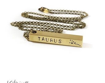 Taurus Zodiac Bar Necklace, Constellation Necklace, Zodiac Jewelry, Brass, Unisex, Long Necklace, Zodiac Pendant, Birthday