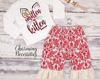 Baby Girl Valentines Day Outfit, Toddler Girl Clothes, Top and Ruffle Pants Set, Smitten Kitten red gold by Charming Necessities