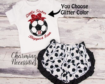 Soccer Sister Top and Ruffled Shorts Set, Soccer Fan, Baby Girl Outfit, Toddler Girl Clothes, Little Sister Biggest Fan Personalized