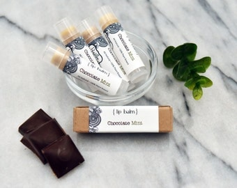 Lip balm -Chocolate Mint with organic jojoba oil, vegan