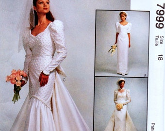 Vintage Wedding Gowns Sewing Pattern McCall's 7999 Size 18 Bust 40