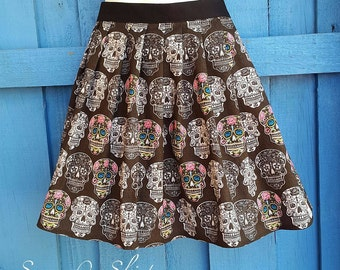 Womens Sz 8 - 10 High Waisted Sugar Skull Rockabilly Skirt
