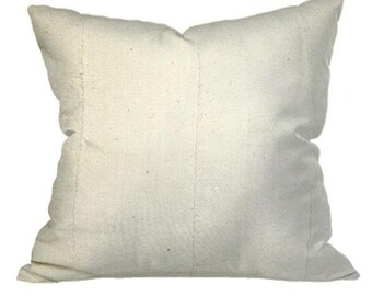 African Solid White Mudcloth Pillow | LIONEL 22x22
