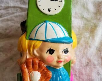 SALE!!  Vintage Four Sided, Four Faces Piggy Bank, Chalk Ware, Little Boy, Teaches Telling Time