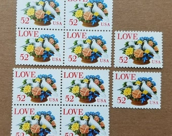 Vintage unused postage stamps - love, roses, and doves 52c, a booklet of 10 stamps