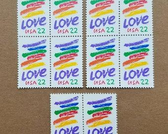 Vintage unused postage stamps - rainbow love, 22c, 10 stamps