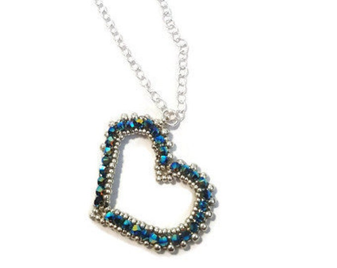 Sparkle My Heart Beaded Pendant Necklace