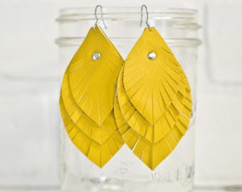 recycled, leather feather earrings, leaf earrings, yellow earrings, earrings, dangle earrings, feather earrings, tassel earrings, stacylynnc