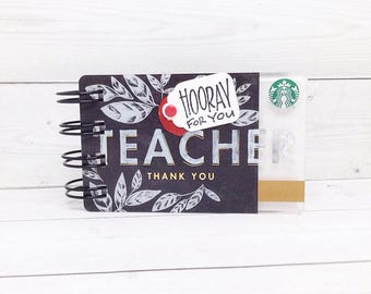 STARBUCKS Notebook - Teacher Gift Card Covers front and back
