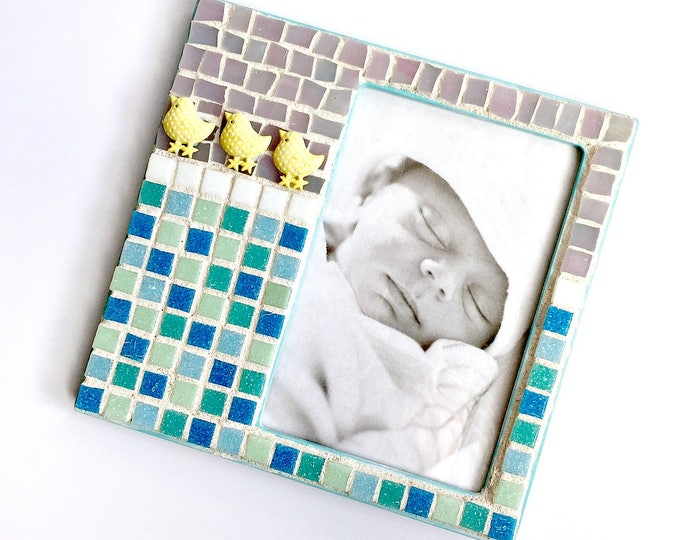 Baby Duck Mosaic Frame, Mosaic Pastel Nursery Frame, Mosaic Frame, 4x6 Mosaic Frame, Lavender Blue Yellow Butterfly Frame, Newborn Frame