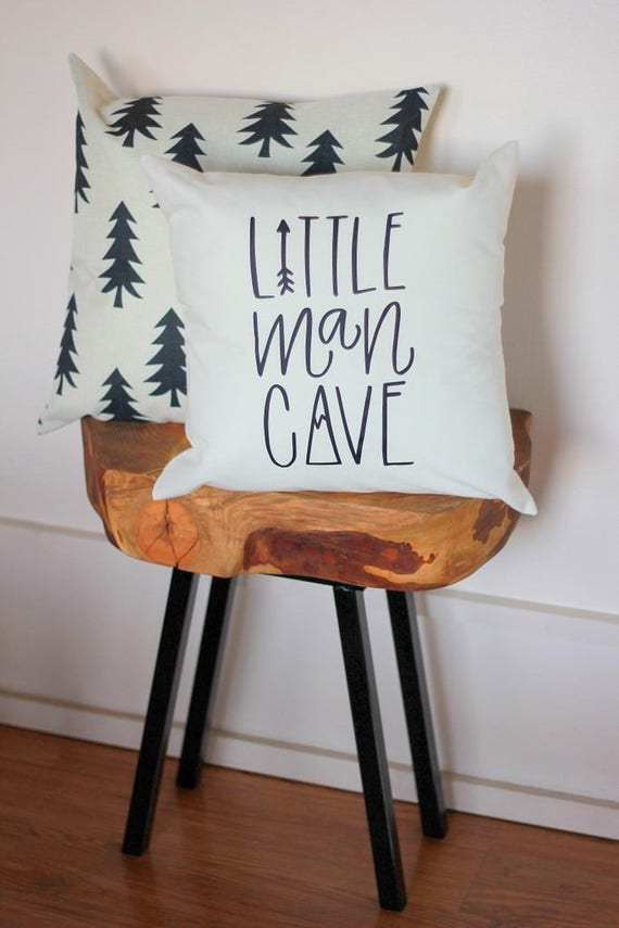 Little Man Cave Nursery Pillow Mountain Arrow Adventure Explore Forest Theme Hand drawn 16 x16 Trees Handwritten