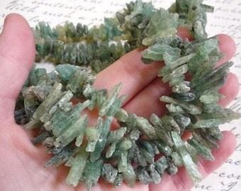 Natural Green Kyanite Druzy Briolette Beads,  15 Inches, Green kyanite raw gemstone, Green Kyanite Rough Gemstone
