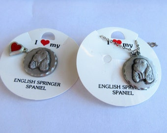 1983 RANCLIFFE Pewter I Love My ENGLISH SPRINGER Necklace Pin & Or Tie Tack (2)