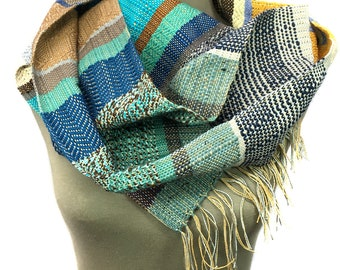 Tess | Handwoven Striped Fashion | Blue & Yellow Modern Woven Scarf | Colorful Loomed Accessory | pidge pidge Ladies Fashion | H76