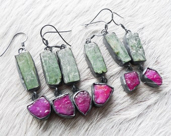 Raw ruby earrings| Kyanite earrings | Rough ruby earrings | Pink stone earrings | Multistone earrings | Ruby dangle earrings