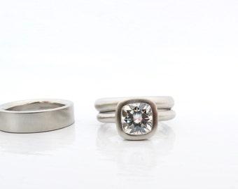 Women's alternative engagement ring, cushion cut engagement ring, women's wedding band, men's wedding band, modern moissanite wedding ring