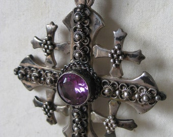 Maltese Cross Jerusalem Jordan Necklace Purple Amethyst 950 Silver Vintage Pendant
