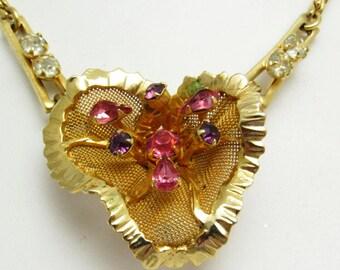 Rhinestone Flower Pendant Necklace Vintage Jewelry N7794
