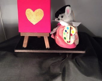 Artist Mouse with Easel. NEW LOWER PRICE