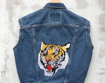 LEVI  Vest with Tiger Patch Levi's Denim Vest Embroidered Patch Vest