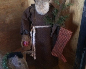 Primitive Santa with Donkey, Lantern and Tree