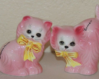 "Pink Kitties Bone China ""Canada"" Salt and Pepper Shakers"