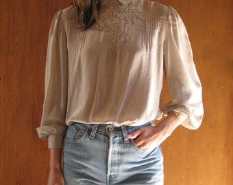 GREY LAVENDER SILK cut out blouse, s