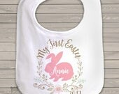 first easter bib personalized Easter chick bib for your little girls first Easter SNLE-010-a