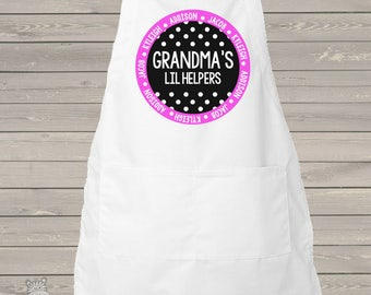 Apron grandmas li'l helpers - adult personalized bib apron - great for Mother's Day gift MA1-05-A