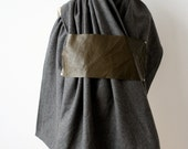 Charcoal Gray Wool Scarf , Military Green Leather, Fashion Accessories,