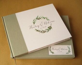 CUSTOM Wedding Guestbook · Floral Greenery Wedding Guest Book· Guestbook Wedding· Personalized Rustic Natural Wedding Decor· Simple Elegant