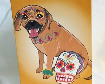 Muertos Puggle Greeting Card