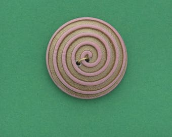 Button , 2 hole sew on,  26mm ,spiral button , pink with  gold ,  made in Germany sold 4 each OB7573