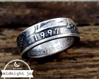 1997 Coin Ring 90% Silver Double Sided Quarter Your Size MR0702-TYS1997