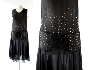 1920s Evening Dress |  Nuit Étoilée | 20s Dress | Rhinestone Dress | XS S