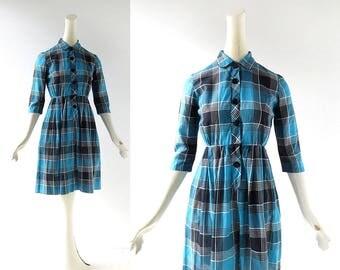 50s Plaid Dress | Head Girl | 1950s Dress | XS