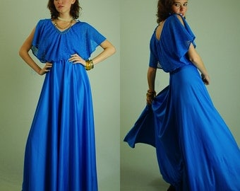 70s Party Gown Vintage Teal Blue Draped Lace Bodice Full Length Maxi Dress (xs s)