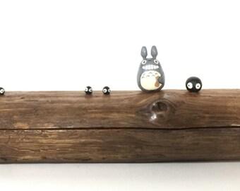 TOTORO chopstick pen pencil Teak Wood Box Studio Ghibli doll figure toy 182