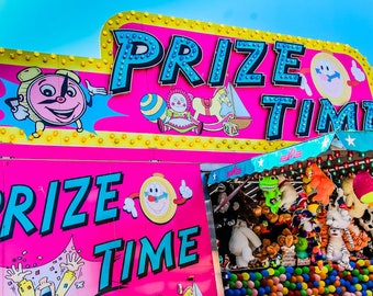 Prize Time Hot Pink Carnival Fair Booth Fine Art Print - Carnival Art, County Fair, Nursery Decor, Home Decor, Children, Baby, Kids
