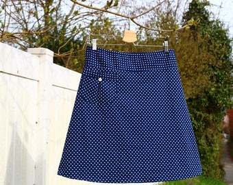 Polka Dot Skirt, Skirt has a Pocket, Navy Blue and white polka dots, Swiss Dots, Simple A line Skirt, Custom made in all sizes, and lengths