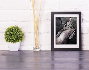 WEIMARANER art, dog print, dog wall art, weimaraner, gift for dog owners, weim 8x10