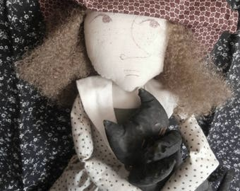 Handmade Folk Art Doll - Mary Bell Brown and Her Black Cat Floyd