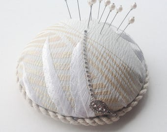 Large Silk Pincushion - Vintage Kimono Fabric - 10 Freshwater Pearl Pins - Sewing Accessory - Gift for Quilter - Mother's Day - Sewing Gift