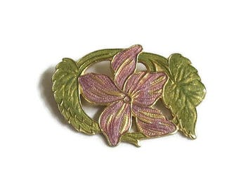 Lavender and Green Enamel Lily Flower Brooch Vintage