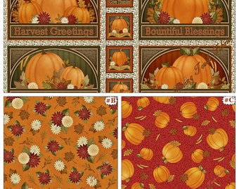 """Quilting Treasures Angela Anderson """"Harvest Greetings"""" Fall Thanksgiving Pumpkins Fabric Collection (Choose)"""